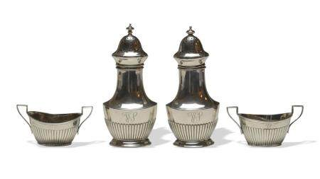 PAIR GORHAM OPEN SALTS AND PEPPER SHAKERS, 19TH CENTURY
