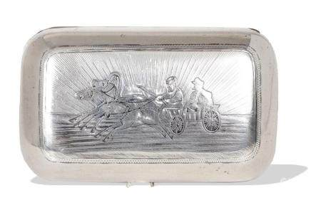 RUSSIAN NIELLO STERLING CIGAR CASE, MOSCOW 1880