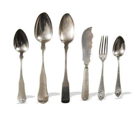 6 PIECES AMERICAN COIN SILVER UTENSILS