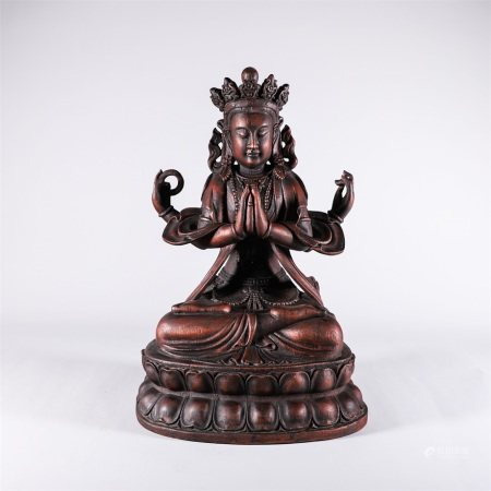 Chinese chen xiang wood carved four-armed Guanyin Buddha statue