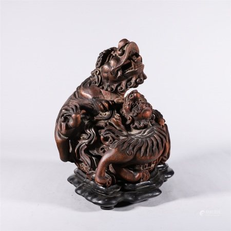 Chinese chen xiang wood hollow carved lion shaped incense burner