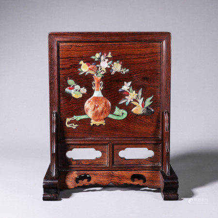 Huang Hua Li wood carved table screen inlaid with mother of pearl