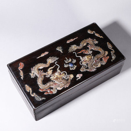 Zi Tan wood carved covered box inlaid with mother of pearl