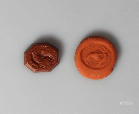 Intaille octogonale.Lion attaquant un cervidé. Inscriptions.Art grécoromain. L :10mm.