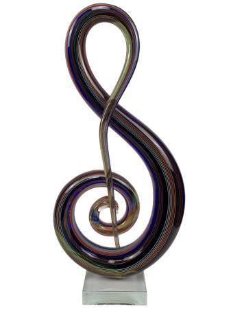 Murano Swirl Treble clef Art Glass Sculpture
