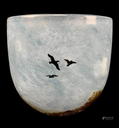 Kosta Boda Kjell Engman Art Glass Bird Bowl