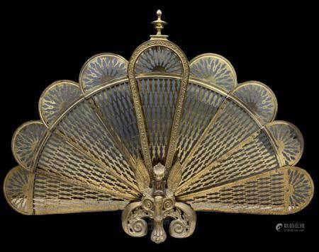 Art Deco Brass Griffin Peacock Fire Screen