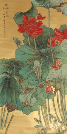 chinese lotus flower painting by zhang daqian