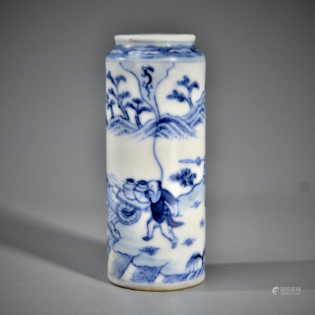 A BLUE AND WHITE 'FIGURAL' SNUFF BOLLTE