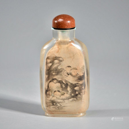 AN INSIDE-PAINTED SNUFF BOTTLE, SIGNED ZHOU LEYUAN