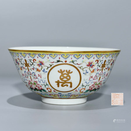 A GILT-DECORATED FAMILLE ROSE BOWL, JIAQING MARK