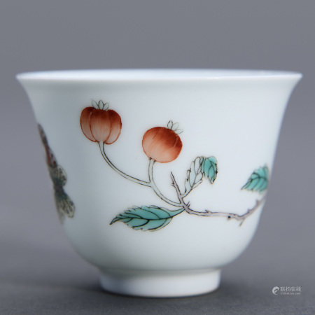 A FAMILLE ROSE BUTTERFLY CUP, KANGXI MARK