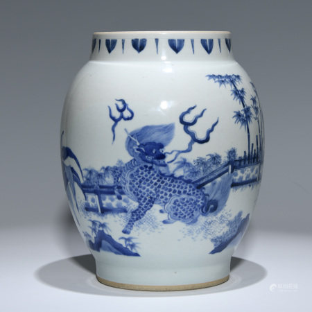 A BLUE AND WHITE 'MYTHICAL BEAST' JAR