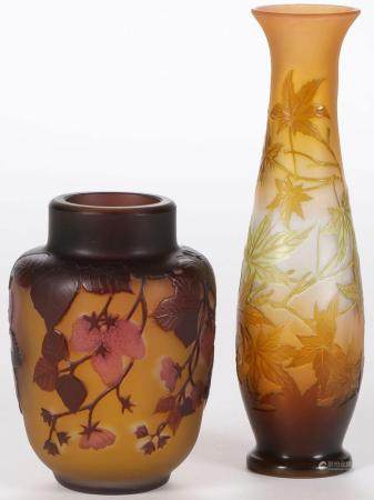 TWO ATTRACTIVE GALLE CAMEO VASES