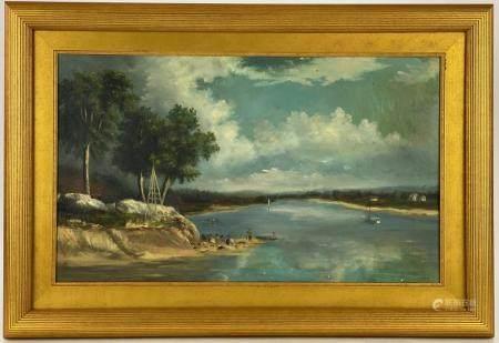 Oil on Canvas River Landscape