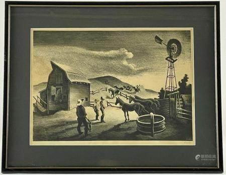 """The Corral"" by Thomas Hart Benton"