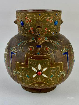 Longwy Pottery Vase wirh Stone Inserts