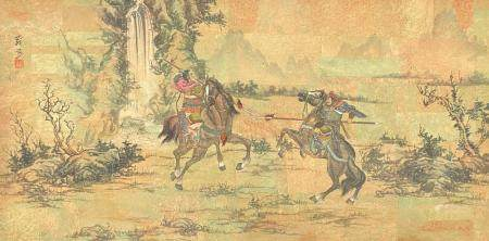 Chinese Hand Painted Painting on Cork Paper.