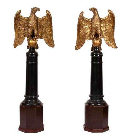 A Pair of Continental Giltwood Eagles on Later Stands