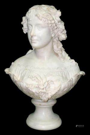 Unsigned Marble Bust (Lady with Flowers)