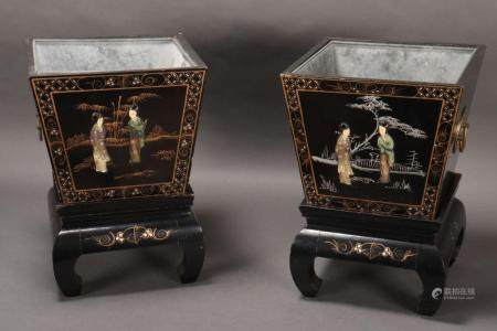 Pair of Chinese Lacquer Jardinieres on Stands,