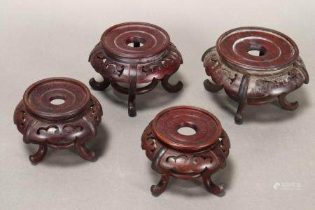 Set of Four Chinese Carved Wooden Stands,