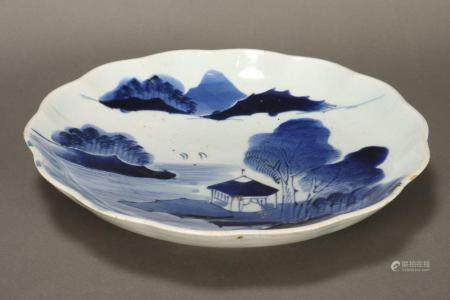 Chinese Qing Dynasty Blue and White Charger,