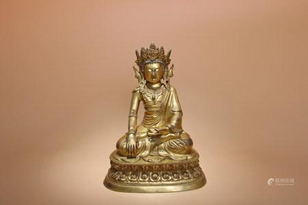 清康熙 銅鎏金寶冠釋迦摩尼