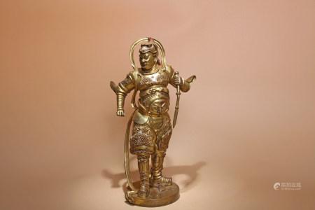 明 銅鎏金韋陀像