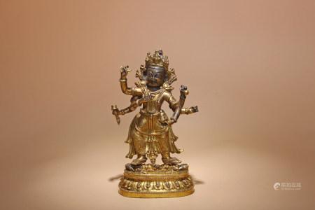 清乾隆 銅鎏金白瑪哈嘎拉