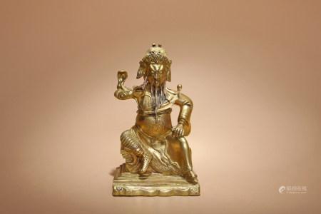 清 銅鎏金關聖人像