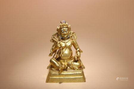 清 銅鎏金黃財神像