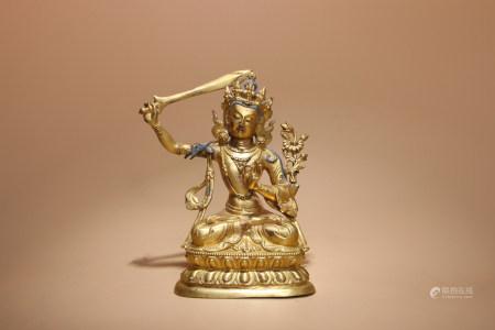 清 銅鎏金文殊菩薩