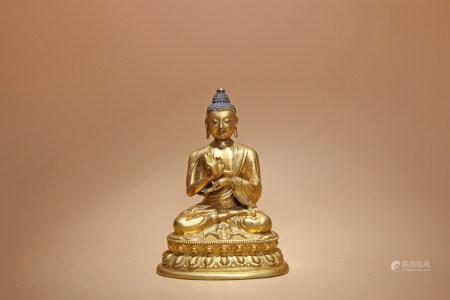 清 銅鎏金釋迦摩尼像
