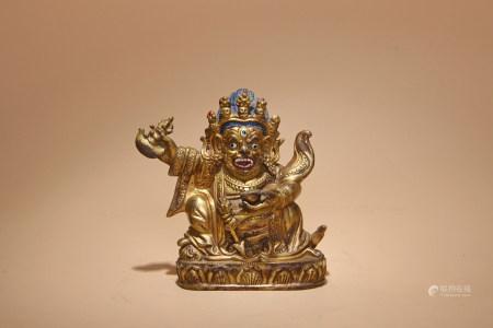 清 銅鎏金瑪哈嘎拉