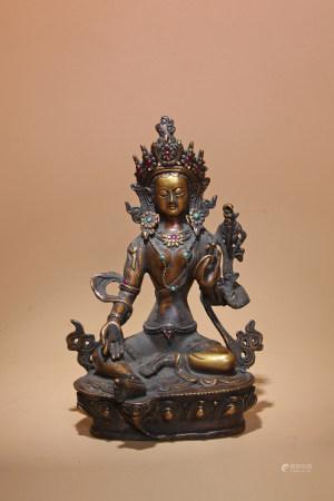 清 銅鎏金嵌寶度母像