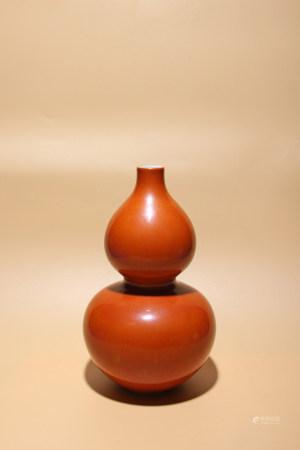清乾隆 紫金釉葫蘆瓶