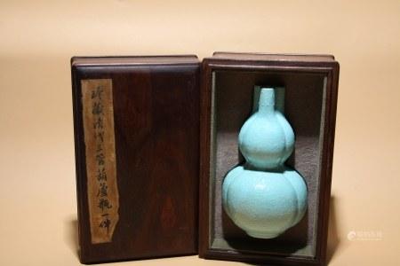 清乾隆 松石釉花卉紋大壽瓶