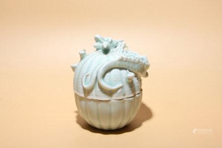 宋 湖田釉盤龍紋蓋罐