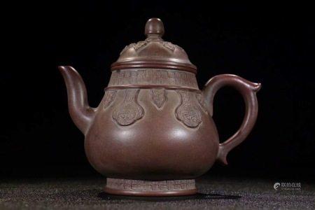 老紫砂古紋茶壺一把