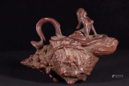 舊藏老紫砂美人魚茶壺
