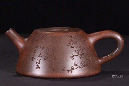 舊藏松枝柴窯梅花紋茶壺