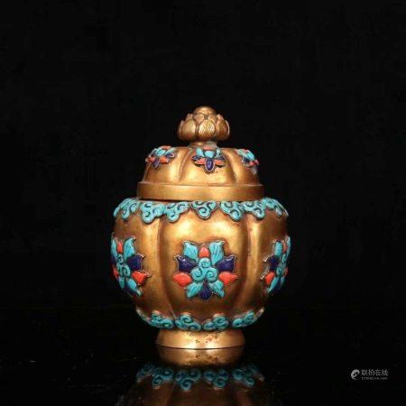 清 銅鎏金鑲寶石蓮花形蓋罐