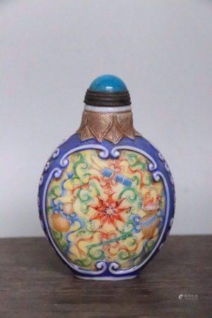 舊藏老料器花卉紋鼻煙壺