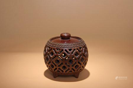 清 黃楊木鏤空雕香爐