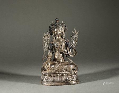 Silver Tara in Qing Dynasty清代銀質度母像