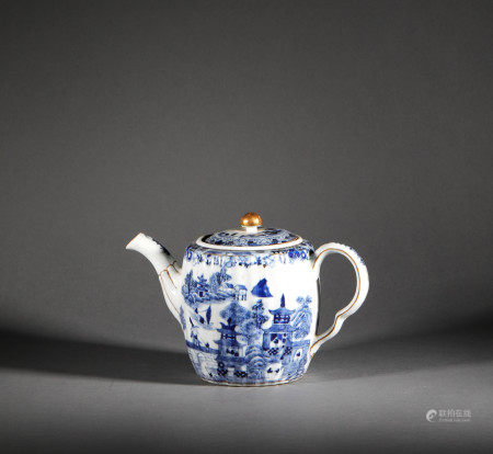 Blue and White Landscape Ewer from Qing Dynasty清代青花山水執壺