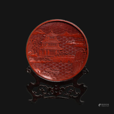 A Red Scenery Plate from Qing Dynasty清代剔紅風景盤
