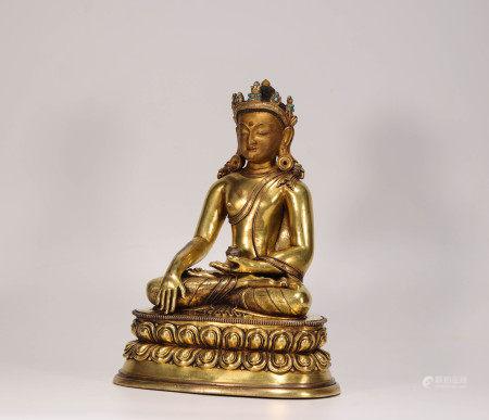 Gilded Bronze Buddha from Qing Dynasty清代銅鎏金藥師佛