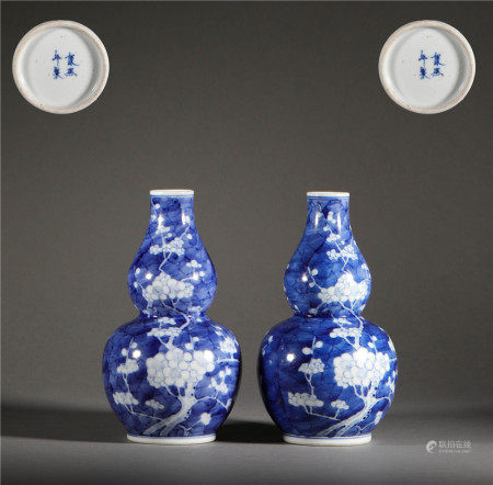 Blue and White Flowers Gourd Bottle in Qing Dynasty清代青花花卉葫蘆瓶